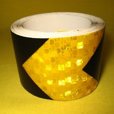 Reflective Safety Warning Tape Arrow 50mm x 3m Roll Yellow Black Adhesive Film