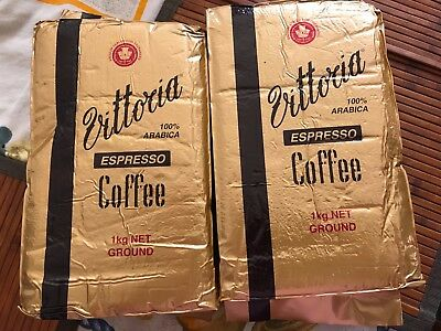 Vittoria Espresso Ground Coffee 2 bag pack (1 kg x 2) -100% Arabica