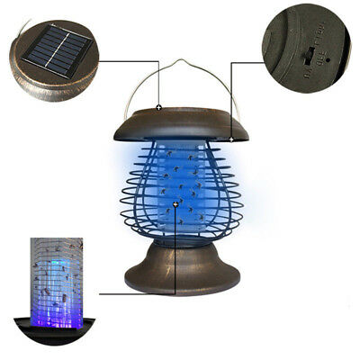 Solar Powered Outdoor Mosquito Fly Bug Insect Zapper Killer w/Trap Lamp Light AU
