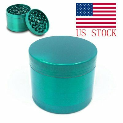 Tobacco Herb Spice Grinder 4 Piece Herbal Alloy Smoke Chromium Crusher Green