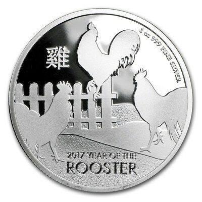 2017 New Zealand Mint $ 2 Niue Lunar Rooster 1 oz .999 Silver Coin