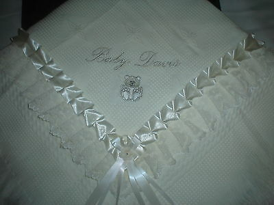 beautiful IVORY baby shawl **NEW**  PERSONALISED boy/girl