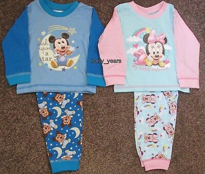 Disney Mickey Minnie Mouse Pyjamas Baby Toddler Girls Boys Character Sleepwear