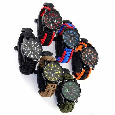 Outdoor Waterproof Paracord Watch Blacklight Wristwatch LED Survival Compass