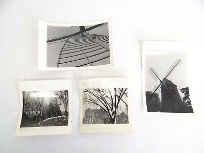 Mixed Lot of Four Vintage Used Windmill Tree Black and White Photographs Photos