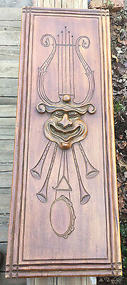 ANTIQUE HAND CARVED WOOD PANEL W/ Jester, Lyre, Tambourine,Triangle & 4 Shawms