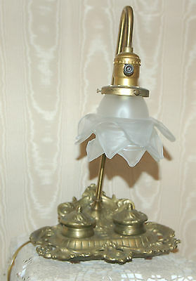 Antique Vintage Old Rare Double Inkwell with Lamp! Amazing Condition!