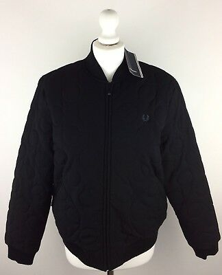 BNWT Fred Perry Women's Black J5772 Quilted Tennis Bomber Jacket 16 (UK)