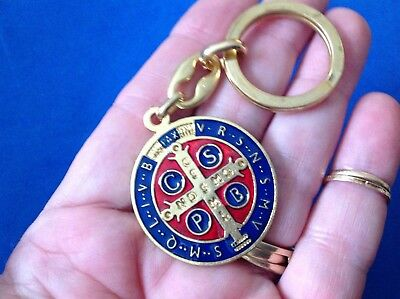 GP ST BENEDICT Protection Key Chain Key Ring ENAMEL Saint Medal Red Blue Italy