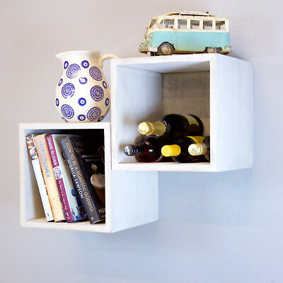 Cube Wooden Wall Shelf/ Rack Available In Solid White or Rustic Old White