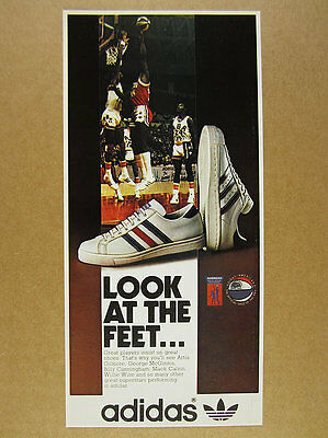 1974 Adidas AMERICANA & SUPERSTAR Basketball ABA Shoes photo vintage print Ad