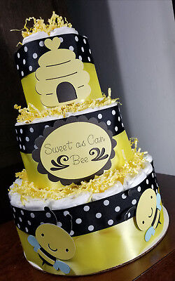 3 Tier Diaper Cake - Sweet as can Bee Bumble Bee Theme Diaper Cake Yellow Black