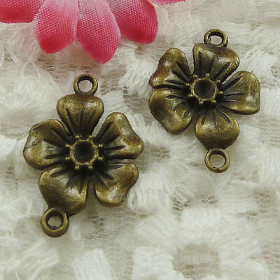 Free Ship 50 pieces bronze plated flower connector 27x18mm #1323