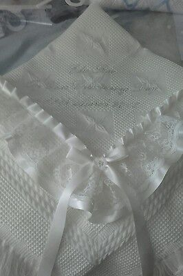 beautiful IVORY baby christening shawl  *PERSONALISED*