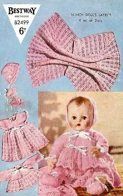 Vintage Baby Dolls Clothes Knitting Pattern Copy DOLLS Layette 41 cms