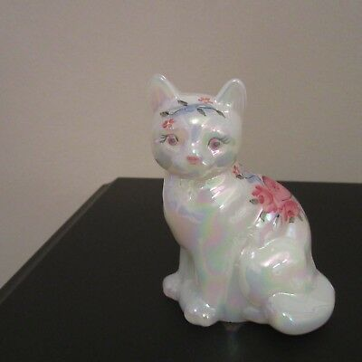 Fenton Hand Painted Sitting Cat Figurine Heart and Flowers Signed ARTIST HART