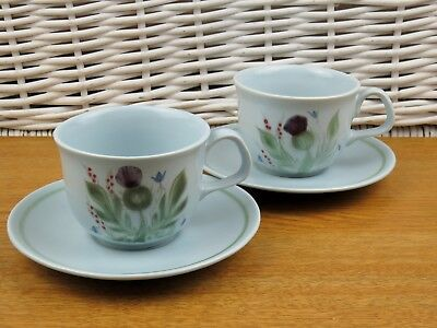 x2 Buchan Thistle Stoneware Cups & Saucers Duo