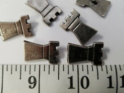 "Unique Vintage 18Mm-11/16"" Buttons Set Of 6 Antique Silver Heavy Metal Tuz2340"