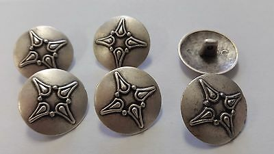 "Unique Vintage 18Mm-11/16"" Buttons Set Of 6 Antique Silver Heavy Metal Tuz2092"