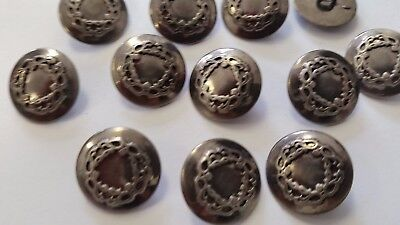 "Unique Vintage 14Mm-9/16"" Buttons Set Of 12 Antique Silver Heavy Metal Tuz684"