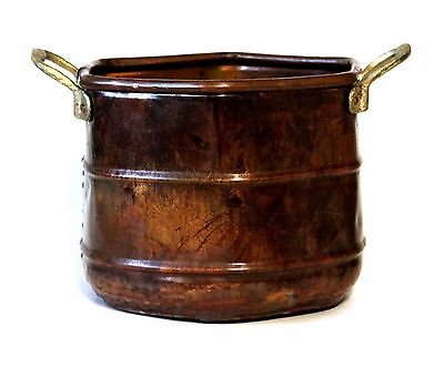 Hexagon Copper Pot and Brass Handles Hammered Aged Patina Planter Made in Turkey