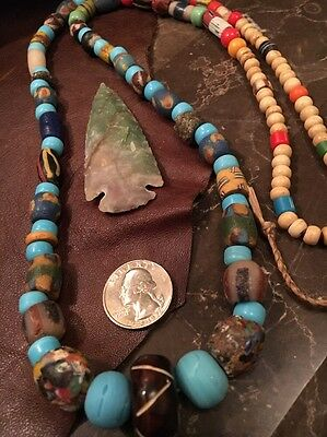 Long Old TRADE Bead NECKLACE Hudson Bay FUR TRADE RENDEZVOUS MTN MAN 36L Multi
