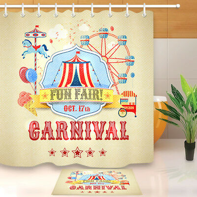 Bathroom Waterproof Shower Curtain Park Circus Vintage Carnival Fun Fair Theme