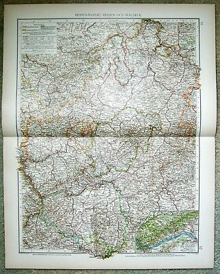 Hesse Nassau - Original 1899 Map by Velhagen & Klasing. Germany. Antique