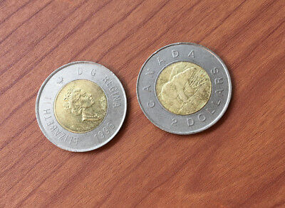 1996 Canadian Toonie $2 Dollar Coin Used Lot of 2