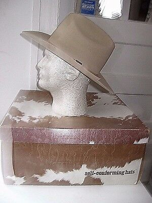 Vintage Resistol 5X Beaver Self Conforming Chamois Long Oval Western Hat-7-Exc.