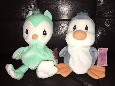 "Precious Moments Tender Tails Green Owl & Blue Penguin 6"" Stuffed Animal NEW"