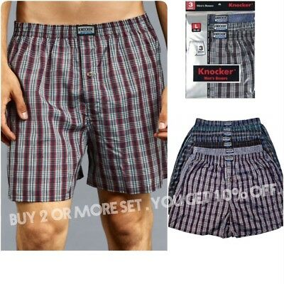 3PC  Men Knocker Boxer Trunk Plaid Shorts Underwear Lot Cotton Briefs S-3xL