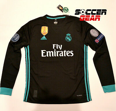 Real Madrid Away Black Long Sleeve Jersey 17/18 UEFA Champions League Climacool