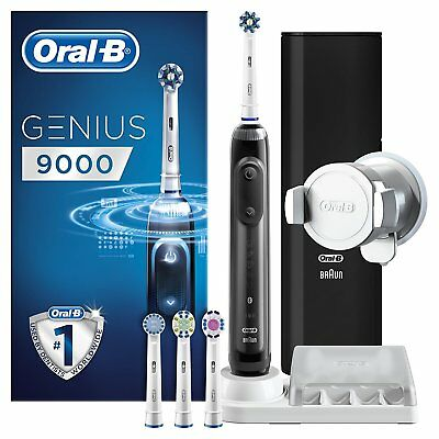 Braun Oral-B Genius 9000S Black Electric Toothbrush 4 Brush Heads Bluetooth New