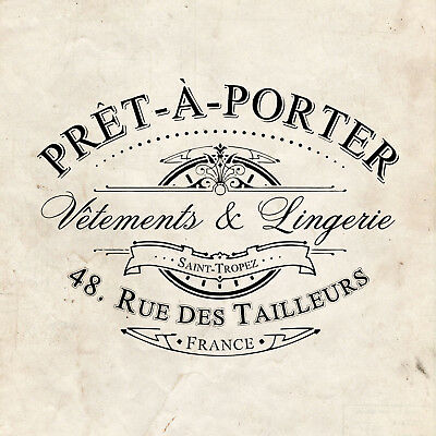 WATER DECAL: French Pret-a-Porter Vintage Advert (Furniture Print Transfer) #039