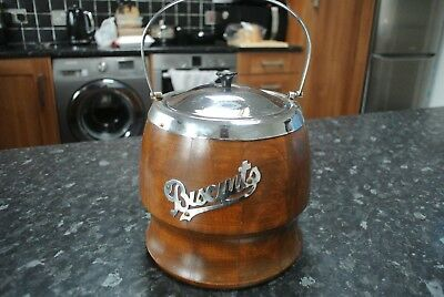 Vintage Retro Polished Stainless Steel & Wooden BISCUIT JAR lovely condition