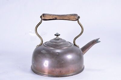 Unusual Vintage Dome Copper Kettle Brass Studded Flat Bottom Wooden Handle