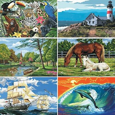 Painting by Numbers Kit - Large Canvas - Includes Paints / Brush / Canvas