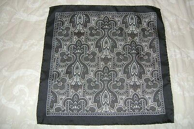 "Hand made Macclesfield silk square 16"" hand rolled black white taupe Paisley"