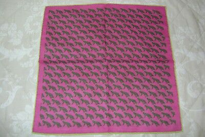 "Handmade silk wool blend 15.5"" pocket square hand rolled pink fox design"