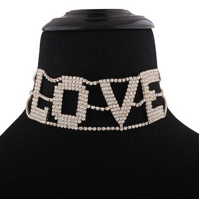 For Women Necklace Jewelry Neck Big Letter LOVE Full Crystal Collier Chokers