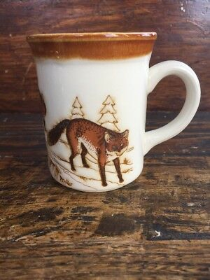 Vintage Biltons Fox Coffee Mug Made in England Glazed Stoneware Foxes Tea Cup