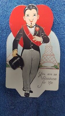 Vintage Valentine, moveable coy eyes and hat, Carrington Co Chicago, excellent
