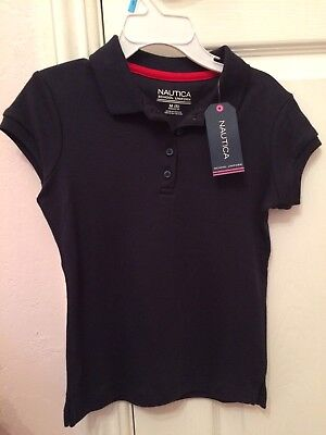 Nautica Girls Uniform Shirt Top Size 5 Short Sleeve Navy Blue NWT