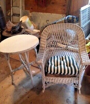 Antique White Wicker Table and Rocking Chair