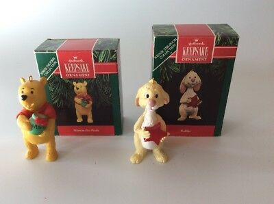 Winnie The Pooh & Rabbit, Disney, Vintage Hallmark Christmas Ornaments FREE SHIP