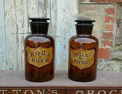 A Pair of Enormous Amber Glass Chemist Jars, Large Stoppers