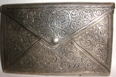 Antique English  Adie & Lovekin Sterling Silver Etched Card Case Holder