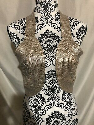 bebe Metallic Vest Vintage L top shrug Crochet blush pink and silver