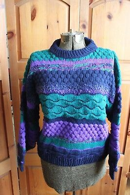 Vintage 1980s Oversized Tu Janz Knit Sweater Multi Color Textured Unisex